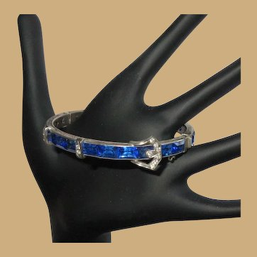Sterling Crystal Buckle Bracelet, Hinged 1920's Art Deco, Blue