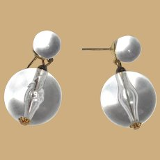 Vintage Lucite Earrings, Pools of Light in Clear Lucite Orbs