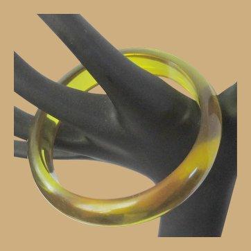 Apple Juice Bakelite Bracelet, Prystal Bangle, Art Deco Domed