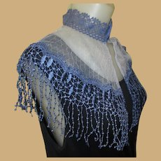 Vintage Lace Shawl / Collar, Blue With Netting