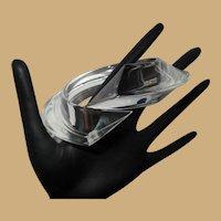 Judith Hendler Acrylic Bypass Bracelet, Clear Wedge Bangle, Vintage 80's