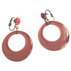 Prystal Bakelite Hoop Earrings, Articulated,  Vintage Juice, Lavender Art Deco