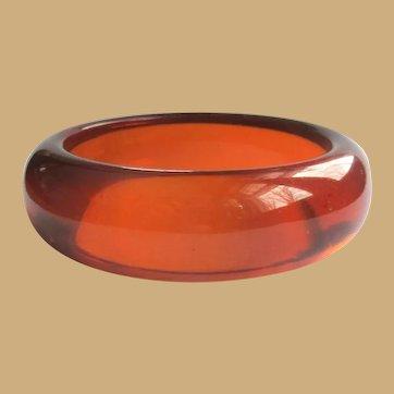Orange Juice Bakelite Bracelet, Prystal Bangle, Art Deco Domed