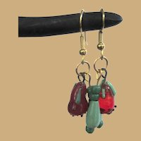 Glass Vegetable Earrings, Vintage Charms & Beads, 90's