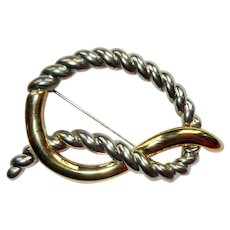Vintage Pretzel Pin / Brooch, Silver & Gold Toned Love Knot, 80's