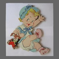 Mother Goose Pin-Ups Dolly Toy Co Nursery Plaques 1952, Baby & Bunny Doll