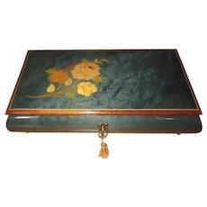 Reuge Music Box, Burled Mahogany, Italy, Floral Inlay, Swiss Movement
