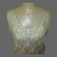 Vintage 60's Beaded Sequined Shell Top, Pale Blue Iridescent