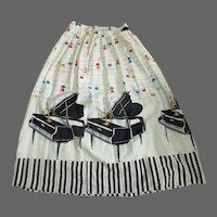 Vintage 50's Skirt, Novelty Print, Grand Piano, Notes, Candelabra