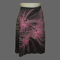 Vintage Sequined Skirt, Pink & Black, Cotton, Made in USA