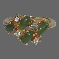Vintage Cocktail Ring, 1960's Costume, Gold Toned, Rhinestone &  Green Glass Cabs