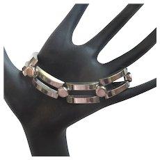 Mid Century Modern Bracelet, Curved Links, Chrome Finish