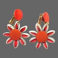 Vintage Mid Century Earrings, 60's Flower Power, Orange Daisies, Clip on