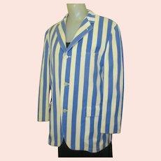 Vintage Rowing Blazer, 50's, College Jacket, Blue & White Stripes, 42