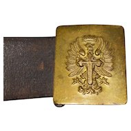 Early  Coat of Arms Heraldic Leather Belt Buckle Cross Eagle Crown