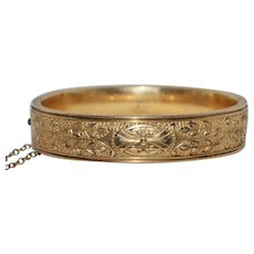 Antique Victorian Bracelet Bangle Taille d'Epargne 1880