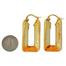 Vintage Italian 18K Hallmarked Gold Large Hoop Earrings Avant Garde Shape