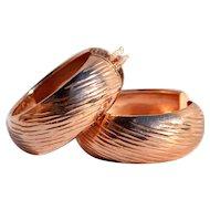 Hallmarked Rose Gold  925 Sterling Hoop Earrings