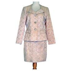 Vintage Cream Brocade Suit Saks Fifth Ave  Rickie Freeman Teri Jon Suits Pristine