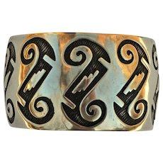 Vintage Native American Indian Hopi Sterling Silver Cuff Bracelet Hallmarked.