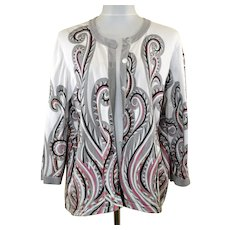 Artistic Avant Garde Bob Mackie Cardigan Sweater XL Wearable Art