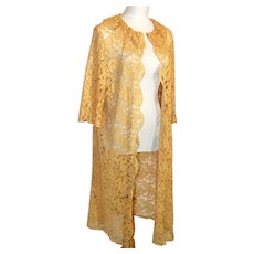 Vintage Sheer Lace Robe or  Evening Coat 1930's