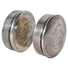 Antique English British Sterling Silver Pair Pill Boxes