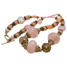 Artisan Rose Quartz Sterling Necklace OTS