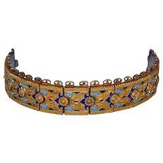Vintage 1920's Deco  Signed Sterling Enamel Russian Turkish Bracelet
