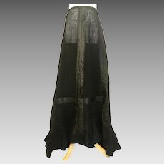 Victorian 1880's Black Wool Bustle Skirt