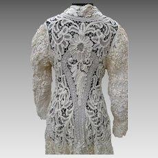 Antique Victorian Battenburg Tape Lace Long Jacket Pristine Condition