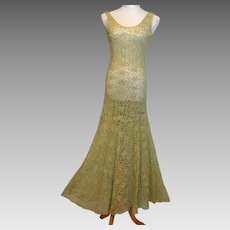 Vintage 1930's Handmade Lace Dress Gown