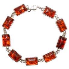 Vintage Baltic Amber Gemstone and Sterling Silver Bracelet