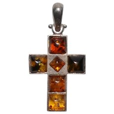 Vintage Amber and Sterling Silver Cross Crucifix Pendant