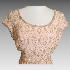 Vintage 1960's Silk Heavily  Beaded Malcolm Starr Dress
