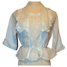 Edwardian White Cotton & Irish Lace Blouse Top