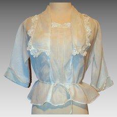 Edwardian White Cotton & Irish Lace Blouse Top