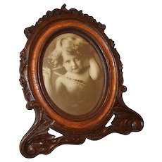 Victorian Large Ornate Heavily Carved  Wood  Standing Picture Frame. Excellent.
