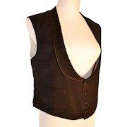 Victorian Black Wool Vest Unisex