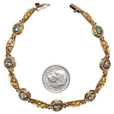 Aquamarine Gemstone 14k Gold Bracelet Hallmarked