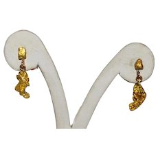 Gold  Natural Freeform Nugget Earrings 24K