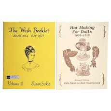 Two Sewing / Pattern Books for Antique Doll Clothes &  Hats
