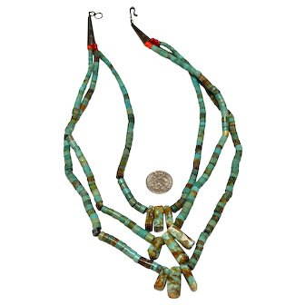 Native American Navajo Indian Three Stand Turquoise Heishi Necklace
