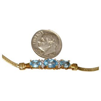 Gold 14k and Swiss Blue Topaz and Diamonds Bracelet