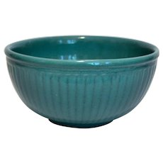 Large Turquoise  Ribbed Bowl Possibly Watts
