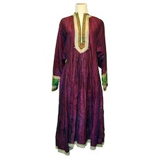Antique Tribal Ethnic Middle Eastern Silk Women's Dress