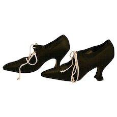 Antique 1920's Black Satin Pumps Shoes Perfect