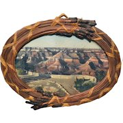 Vintage Grand  Canyon Memorabilia Picture Woven Pine Needle Frame Americana