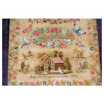 1835  Needlework Sampler Pennsylvania Provenance Completely Original