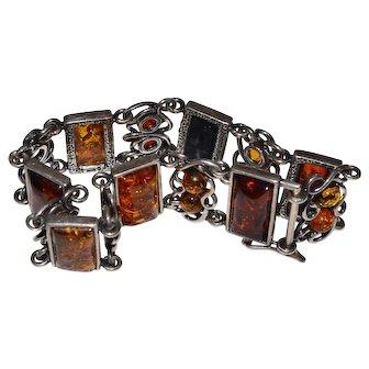 Vintage Baltic Amber Gemstone Sterling Poland Hallmark Bracelet